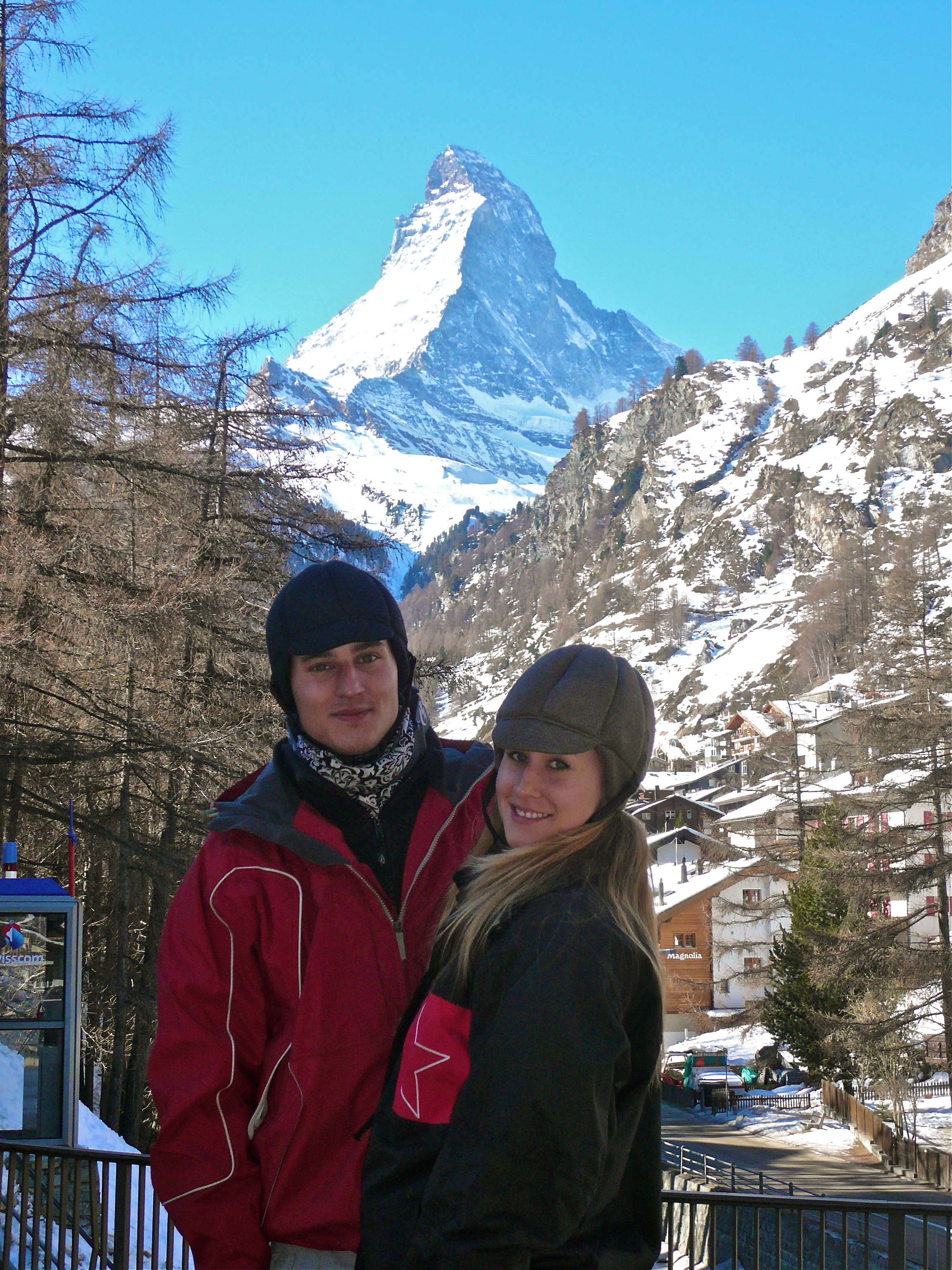Michael and Linda - skiing at Zermatt, Switzerland with there new Ribcap.