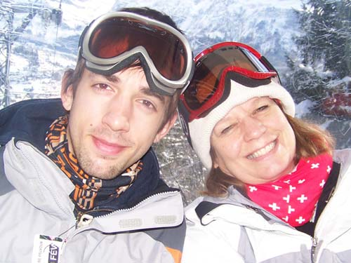 Huston and Leslie on the slopes in Gridelwald, Switzerland.